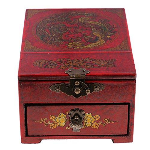 PETSOLA Regalo De Madera De La Caja del Pecho del Cajón del Aparador del Espejo del Estilo Oriental para Los Amigos De Los Niños - Negro dragón fénix, 15.7 x 11.7 x 8.2 cm