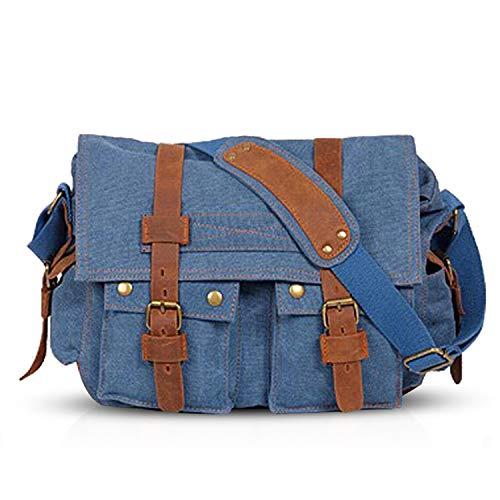 FANDARE Neu Retro Messenger Bag Umhängetasche Schultertasche 14 Zoll Laptoprucksäcke Herren Frauen Tasche Kuriertasche Multifunktions Canvas Navy Blau