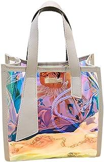 Wultia - Women's Shoulder Bag Laser Handbags Totes New 2pcs Multi-Function Color Handbag Female Messenger Bag Shoulder Bags #M Gray