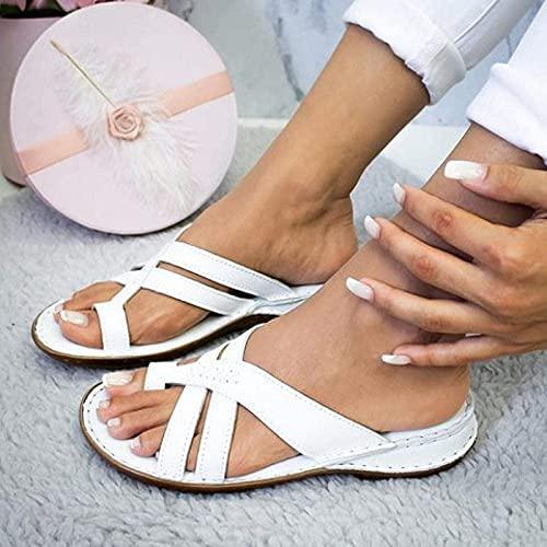 Verano Mujer Sandalias de cuña con Punta Abierta Playa Sandalias de Plataforma Plana Damas Ocio Pendiente Peep Toe Slip On Zapatillas Casual Vacaciones Playa Chanclas Sandalias