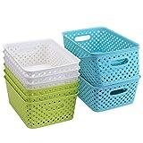 Bekith 9 Pack Plastic Storage Basket, Woven Basket Bins Organizer, 9.75-Inch x 7.5-Inch x 4-Inch