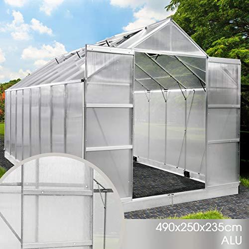 BRAST Gewächshaus Aluminium mit Fundament rostfrei 490x250x235 6mm Platten Alu Treibhaus Glashaus Tomatenhaus