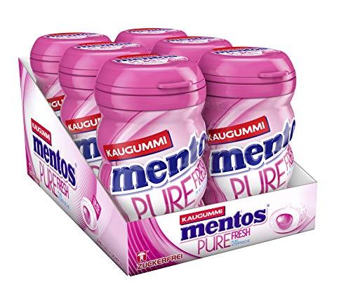 Mentos Pure Fresh Bubble Cool, 6er Box Kaugummi-Dragees, zuckerfrei mit Fruchtgeschmack + Füllung aus Grüntee-Extrakt