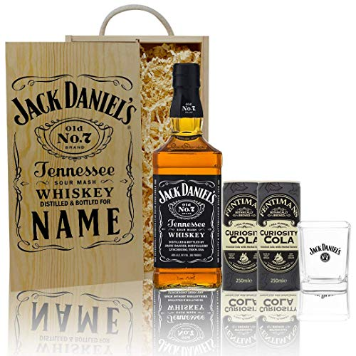 Personalised Jack Daniels No.7 Original Whiskey Gift Set with JD Glass & Fentimans Curiosity Cola - Perfect for Christmas