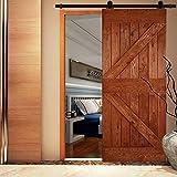QINAIXQM 8FT/244cm Kit de accesorios para puerta de granero traslacional de servicio pesado, resistente y duradero, adecuado para una sola puerta de madera, negro antiguo(Forma T)