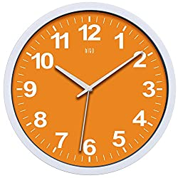 hito Silent Wall Clock Non Ticking 12 inch Excellent Accurate Sweep Movement, Modern Decorative for Kitchen, Living Room, Bathroom, Bedroom, Office, Classroom (Orange)