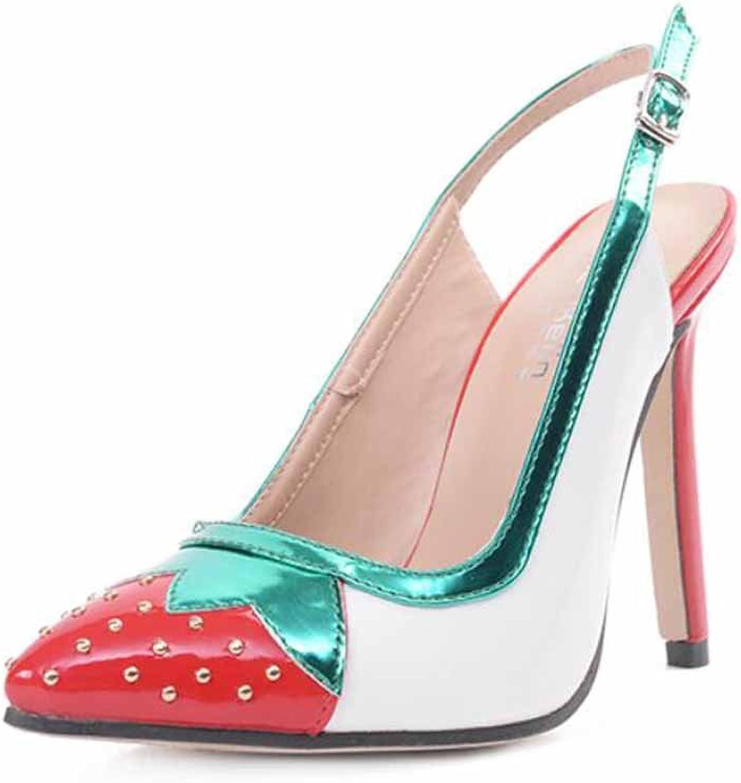 Women Slingback Sandals European Pointed Pump 11 Cm High-heel OL Rivet Female Strawberry Sandals
