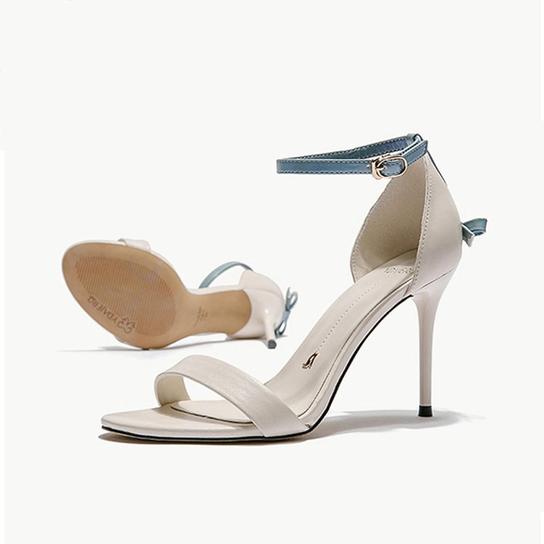 QINGTAOSHOP Damenschuhe Stiletto Heels Wort Sandalen Sexy Heels (Farbe   Weiß, Größe   39)