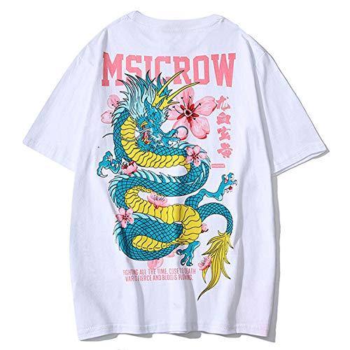 ZAFUL Herren T-Shirt Rundhals mit Dragon und Blumen Oberteil mit Chinesische Zeichen Tee Kurzarm Loose WeißLarge