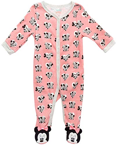 Disney Baby Girls? Sleep N? Play ? Footie Pajamas: Minnie Mouse, Daisy Duck, Princess (Newborn/Infant), Size 6-9 Months, Pink Lemonade Minnie