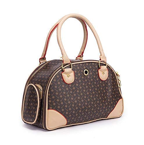BETOP HOUSE Fashion Dog Carrier PU Leather Dog Handbag Dog Purse Cat Tote Bag Pet Cat Dog Hiking Bag, Brown, Small 382317cm