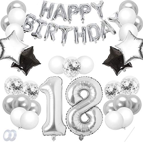 Luftballon 18. Geburtstag Schwarz Silber,Geburtstagsdeko 18 Jahr,Happy Birthday Dekoration Zahl,kunterbunte Luftballons Metallic,Nummerndekoration,Riesen Folienballon,Happy Birthday Dekoration