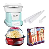 Nostalgia Basic DIY Home Carnival Bundle with Cotton Candy Maker, Popcorn Maker and 12-Pack Box (3 Items)