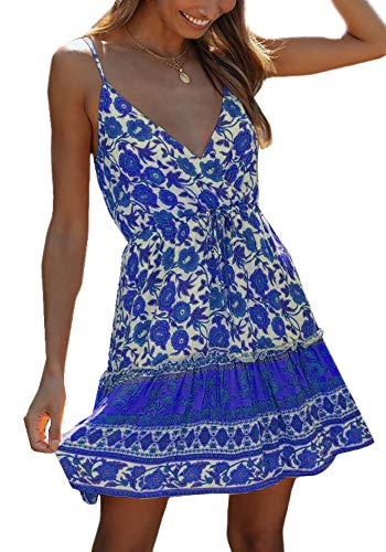 Womens Spaghetti Strap Boho Floral Dresses V Neck Casual Summer Wrap Tie Front Mini Dress Blue (Apparel)
