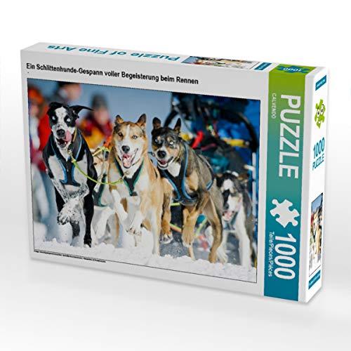 CALVENDO Puzzle EIN Schlittenhunde-Gespann voller Begeisterung beim Rennen 1000 Teile Lege-Größe 64 x 48 cm Foto-Puzzle Bild Verlag