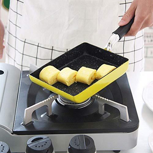 WPCBAA Japanische brennende Pfanne Braten Omelett Spiegeleier Quadratische Pfanne Aluminium Antihaft-Bratpfanne verfügbar Kochgeschirr Küchenutensilien (Farbe : Gelb)