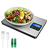 Brifit Digital Kitchen Scale, 15kg/33lb USB Rechargeable Food Scales, Stainless Steel Cooking Scales, Smart Touch LCD Backlit Display, Accuracy 1g/0.1oz, Tare Function, 5 Units (Battery Included)