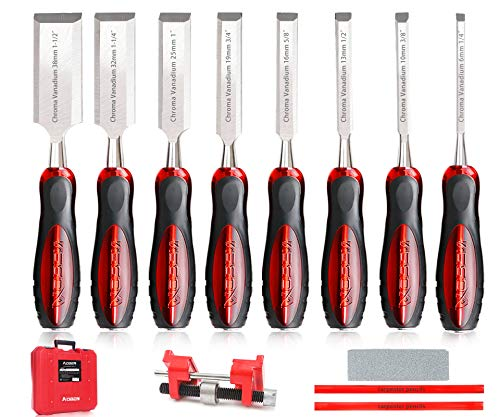 AOBEN 12 pc Wood Chisel Set Premium Wood Carving Chisels Sturdy Heat-Treated Cr-V Alloy Blades Woodworking Tools with 8 Full Tang Wood Chisels Tools,Honing Guide,Sharpening Stone,2 Carpenter Pencils