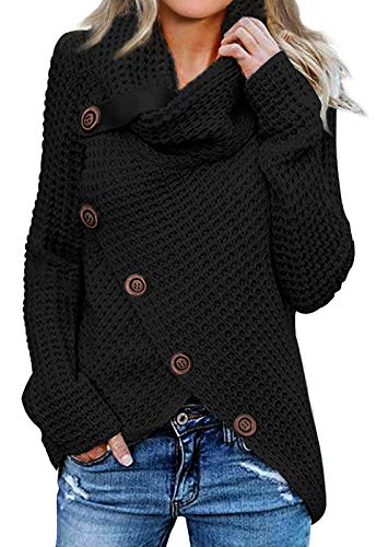 Asvivid Womens Winter Sweater Turtleneck Cowl Neck Sweaters Cozy Sweater Lightweight Asymmetrial Wrap Black Sweater with Button S