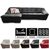 Cavadore Leder-Sofa Lucas / Echtleder-Couch mit Steppung / Longchair links / Größe: 287 x 81 x 165 (BxHxT) / Leder schwarz