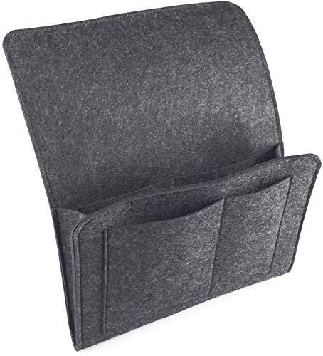 ESLIME - Bolsillo de almacenamiento para mesita de noche, bolsillo de fieltro, bolsa organizadora para colgar con velcro, revista, teléfono, soporte para mandos a distancia para el hogar, cama, sofá, litera