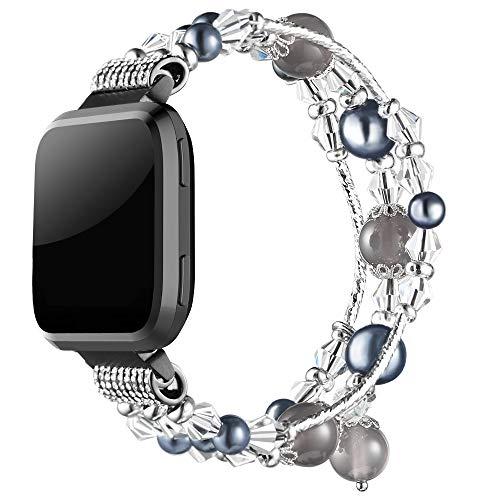 Simpeak Band Compatible with Fitbit Versa / Versa 2 / Versa Lite Smartwatch, Jewelry Bracelet Elastic Beaded Pearl Band Replacement for Fitbit Versa,Women Girls, Black