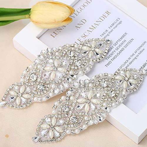 Rhinestone Applique for DIY Wedding Dress Bridal Accessories (2 Piece Silver)