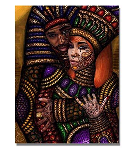 KAOLWY Cuadro En Lienzo Pinturas Decoración Hombres Y Mujeres Egipcias Pintura De Pared Impresiones Imágenes para Sala De Estar Arte De Pared Pintura En La Pared 60X90Cm Sin Marco