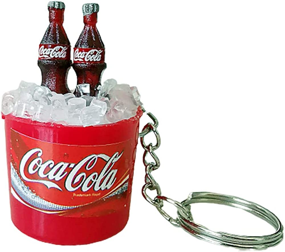 3 Pack Mini Two Cola Coke Bottle with 3D Ice BucketKeychain Keyring Car Key Chain Decor Dollhouse Gift for Bag Accessory