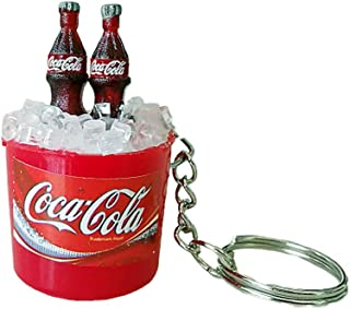 Image result for 3 Pack Mini Two Cola Coke Bottle with 3D Ice Bucket Keychain Keyring Car Key