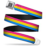 Buckle-Down Seatbelt Belt - Flag Pansexual Pink/Yellow/Blue - 1.0' Wide - 20-36 Inches in Length