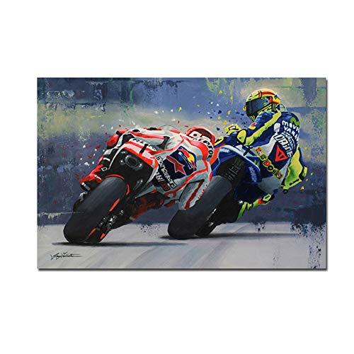 A&D Motorrad Aquarell Öl Drucke Valentino Rossies Poster Leinwand Malerei Wandkunst Dekorative Bild für Wohnzimmer Wohnkultur-60x90 cm Kein Rahmen
