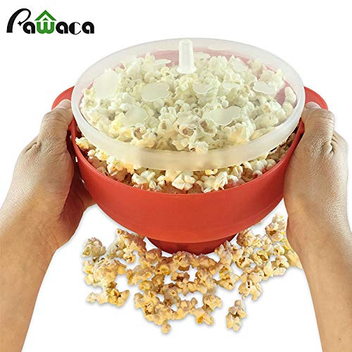 Best Quality - Bowls - Microwave Popcorn Maker Collapsible Silicone Popcorn Popper Bowl Pop Corn Bowl with Lid for Home DlY Hot Air Popcorn Popper Bowl - by Tini - 1 PCs