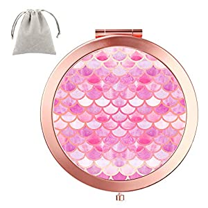 Dynippy Compact Mirror Round Rose Gold Makeup Mirror Folding Mini Pocket Mirror Portable Hand Mirror Double-Sided with 2 x 1x Magnification for Woman Mother Kids Great Gift (Pink Mermaid Scales)
