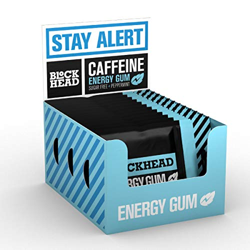 Blockhead Energy Gum Peppermint 120 Pieces | Caffeine Chewing Gum with Vitamins B1, B6 & B12 and Ginseng | Sugar-Free | Calorie-Free