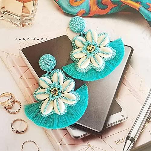 SALAN Pendientes Largos De Concha Marina Tejida Azul con Flores Bohemias para Mujer, Pendientes De Borla con Cuentas De Moda, Joyería Llamativa
