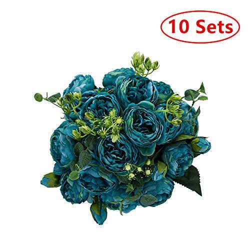 Bruiloft Centrum Stukken Bloemenvaas Set, Kunstbloem Ballen voor Centerpieces Bruiloft Huisdecoratie Geschikt voor Onze Winkel Bruiloft Bloem Trompet Vaas (Blauw)