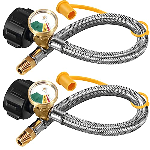 LONGADS 2 Packs RV Propane Hoses with Gauge, 15 Inch Stainless Steel Braided Camper Tank Hose,Rv lp Gas Hoses Connector for Standard Two-Stage Regulator, 40Lb 250PSI, 1/4 NPT /QCC1 Fittings