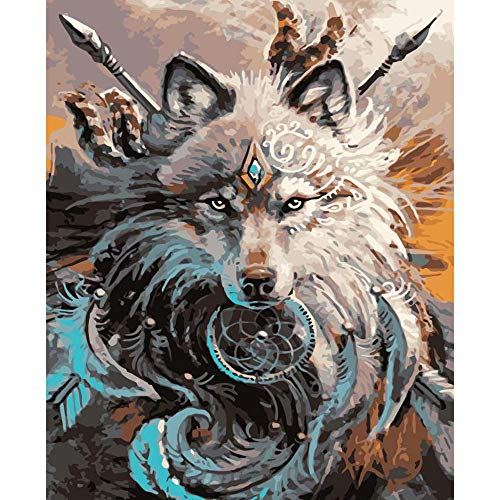 Paint by Numbers for Adults Beginner,Shoci DIY Oil Painting Paint by Number Kit for Kids, Paint by Number Kits on Canvas, Wolf Painting 16x20 Inches No Frame