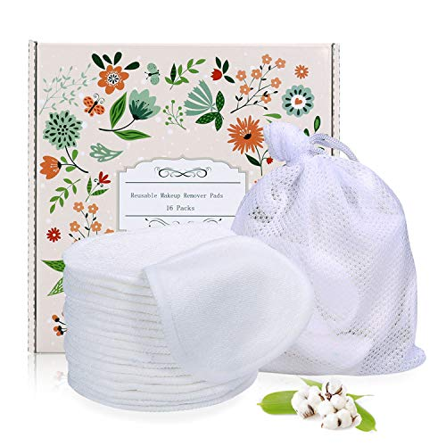Reusable Makeup Remover Pads 16 Packs, TOPOINT Organic Bamboo Cotton Rounds Toner for Face Eye Makeup Remover with Laundry Bag