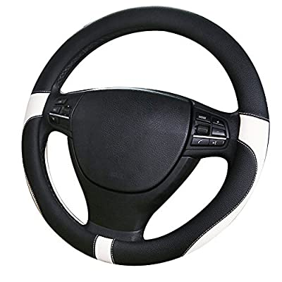 Microfiber Leather Universal Fit 38cm Black and Red /black and white/gray/beige Non-slip Car Steering Wheel Cover