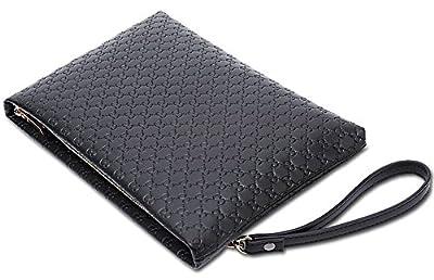 Men Black Clutch Bag Large Capacity Business Handbag Microfiber Leather Soft
