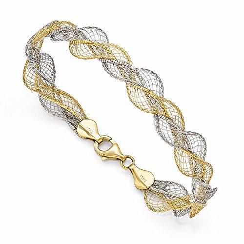 Pulsera trenzada de oro de 14 quilates con dos tonos de cierre de langosta con textura de oro para mujer – 18 centímetros