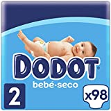 Dodot Bebé-Seco Pañales Talla 2, 98 Pañales, 4-8kg, Hasta 12h De Protección Anti-fugas