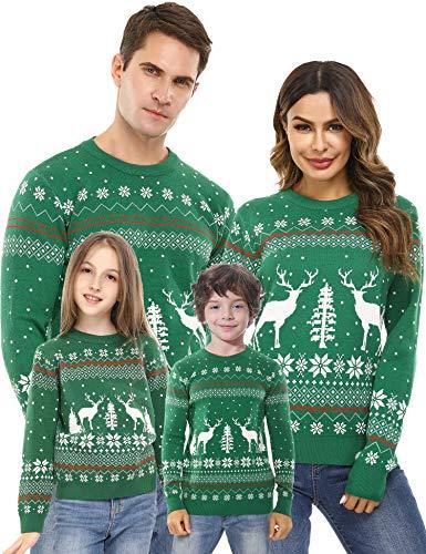Akalnny Weihnachtspullover Familie Set lustige Weihnachtspullover Christmas Sweater Warm Rundhals Langarm Grün 6