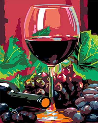 GEGEMEI olieverfschilderij wijnglas kits soepel kunst knutselen canvas wand decoratie sticker Home Decor 16 * 20 inch