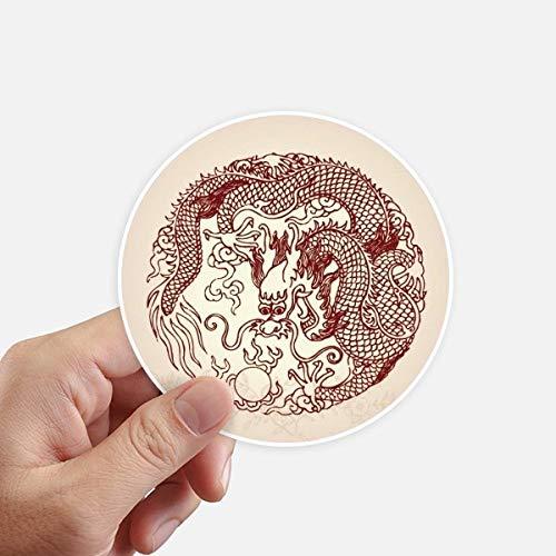 Doe-het-zelf Chinese draak dierenriem portretsticker 10 cm muur koffer laptop motobike sticker 8 stuks diameter 10 cm meerkleurig