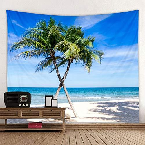 Sunny green tree beach print tapiz de pared hippie colgante de pared tapiz bohemio tapiz mandala tela de fondo a1 180x200cm