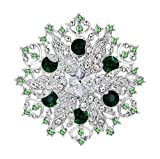 EVER FAITH Austrian Crystal Winter Snowflake Corsage Brooch Pin Green w/Teal...