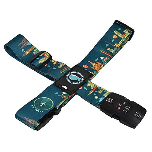 クロース(Kroeus)スーツケースベルト TSAロック 十字型 トランクベルト ワンタッチ 旅行 出張 サイズ調整可 ネームタグ付 盗難防止 カラフル 5色 グリーン